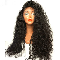 Marquesha 180% Density Free Style Black Synthetic Lace Front Curly Wig For Women Heat Resistant Fiber Make Up Wigs