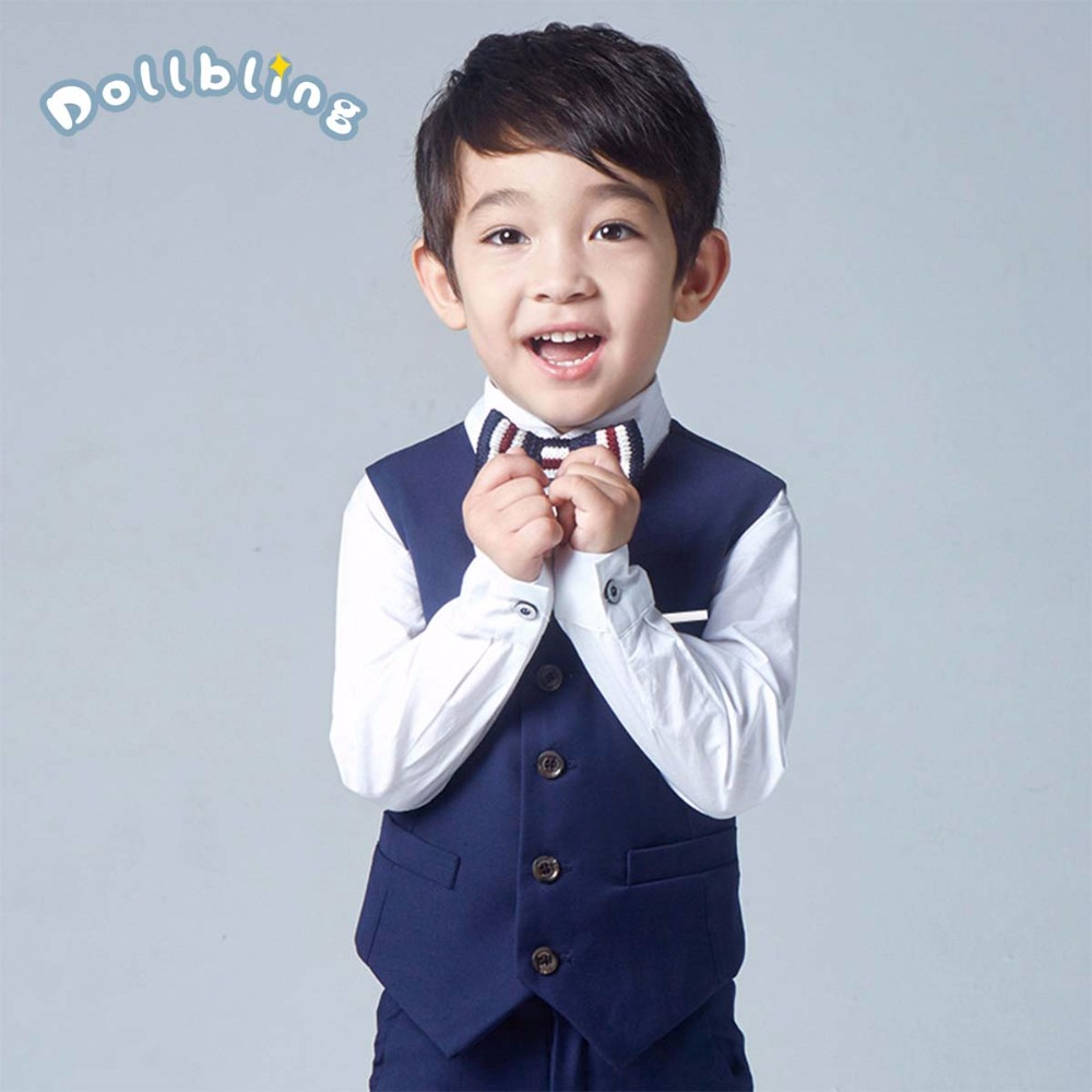 Boys Suit Set Costume 4 Pcs (Vest + Pant + Long Sleeve Shirt + Knitted Tie) Single Breasted Boys Casual Suits For Weddings PartyBoys Suit Set Costume 4 Pcs (Vest + Pant + Long Sleeve Shirt + Knitted Tie) Single Breasted Boys Casual Suits For Weddings Party