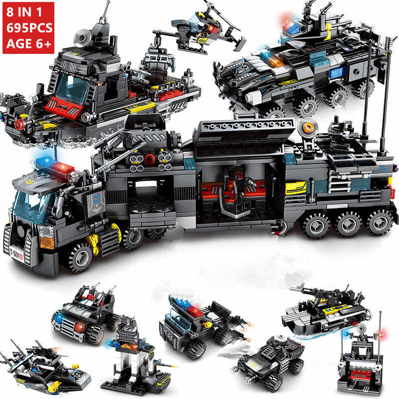 8pcs/lot 695Pcs City Police SWAT Truck Building Blocks Sets Ship Helicopter Vehicle Technic Bricks Playmobil Toys for Children