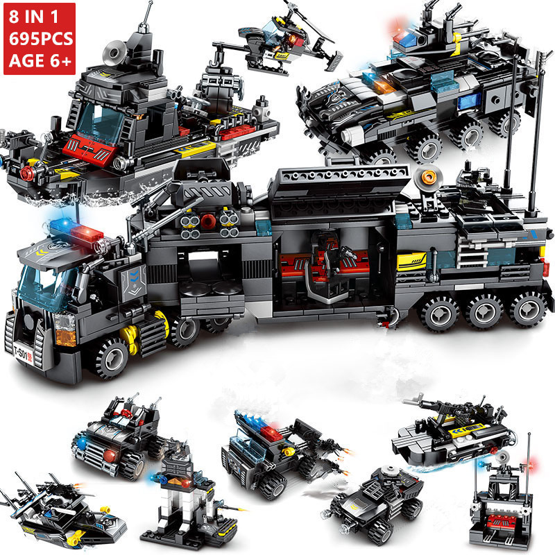8pcs/lot 695Pcs City Police SWAT Truck Building Blocks Sets Ship Vehicle Technic LegoINGLs Bricks Playmobil Toys for Children