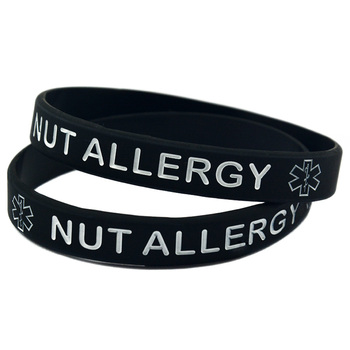 1PC Alert Nut Allergy Silicone Wristband for Daily Reminder 2