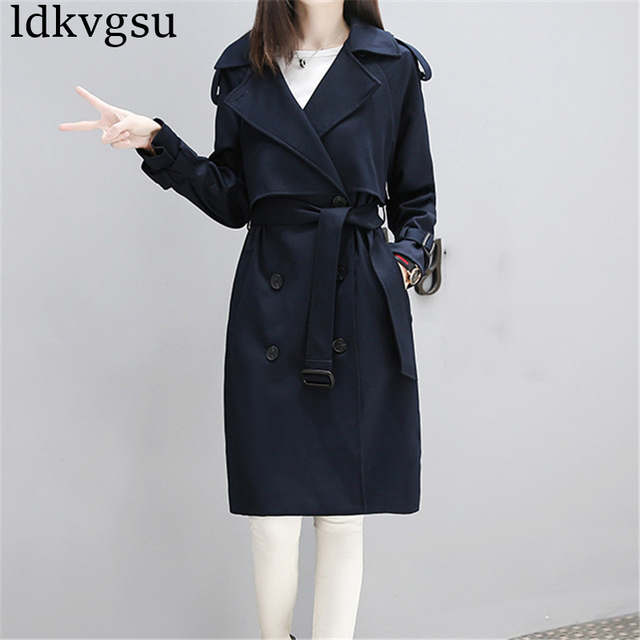 8fb4094031e Fashion Windbreaker Jacket Female Long 2018 Spring Autumn New Korean  Temperament Large Size Slim Coat Women Navy Outerwear A589