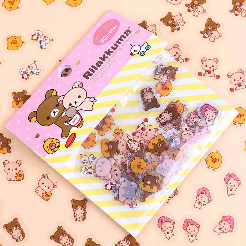 80PCS/lot Kawaii Rilakkuma His Circus Friends Series Sticker Pack Student Decoration Label Stationery Gift