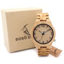 BOBO D27 hombres Superiores de la Marca de Diseño De Madera de AVES Bandas de Reloj de Marcación con Vínculos De Madera De Bambú Completo en Caja de Regalo