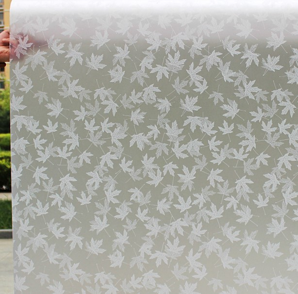 PVC Self Adhesive Window Film Decorative Frosted Glass Stickers Privacy Colorless White Maple Leafs width 30/45/60/75/90*200 cm