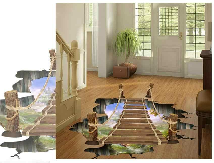 ثلاثية الأبعاد جسر الطابق ملصقات جدار ملصقات الثلاجة الأزرق ديكور المنزل تأثيري ديكور على الحائط الفينيل الزخرفية لغرفة النوم جدار #7