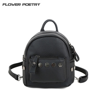 Fashion Small Women Backpacks Small Rivet Zipper Pu Leather Student Backpack Preppy Style Backpack Girls Women