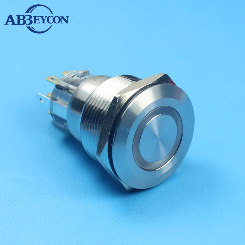 Big Discount 22mm Ring Illuminated LED Push Button Switch Self-locking 2NO2NC Metal Switch Red Color 12V