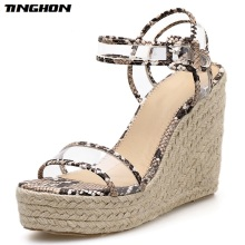 TINGHON Summer Fashion PVC Sandals Shallow Wedges High Heels Transparent Serpentine Round Toe White Black Size35-40