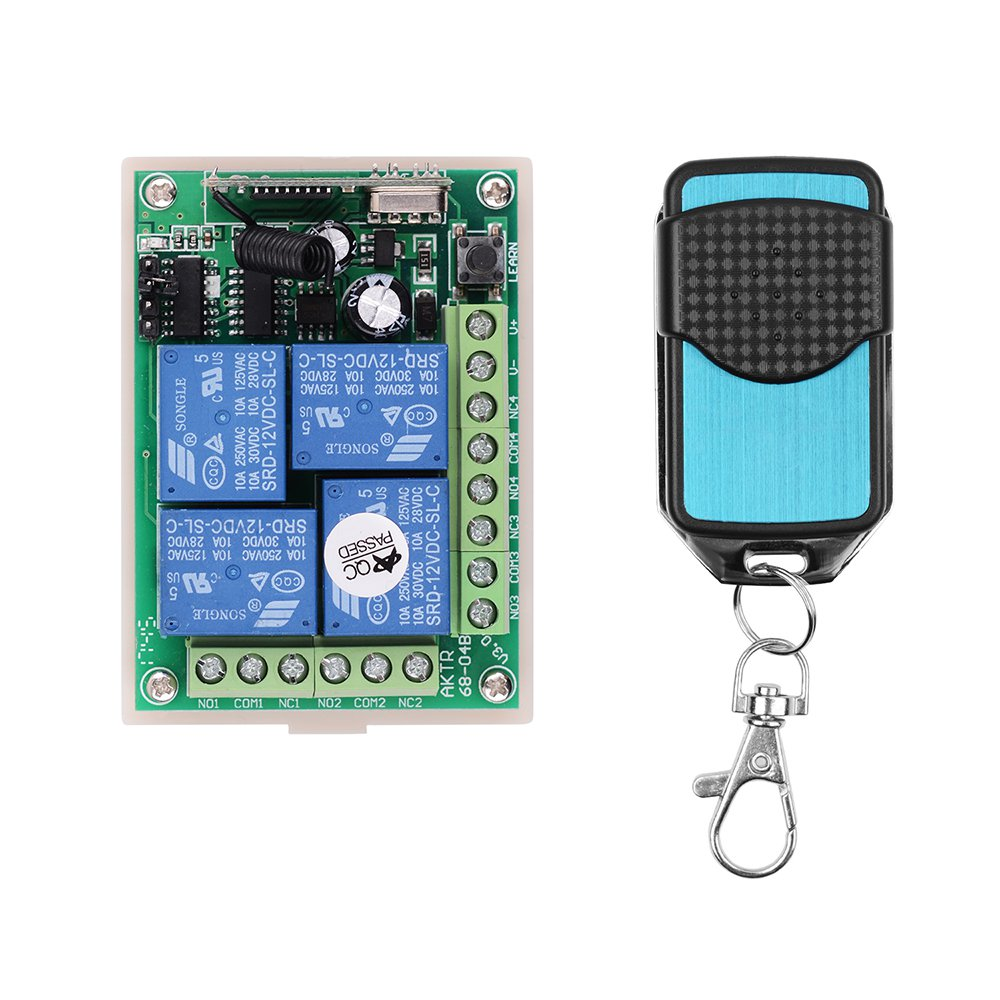Universal Wireless Remote Control Switch Dc 12 V 4ch433m 4 Relay Receiving Module +3 Rf Remote Transmitting Remote Control