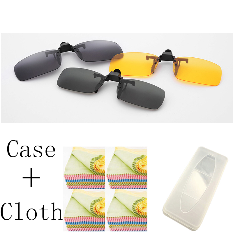 1PCS 3 Colors Lens Day Vision yellow Sunglasses Clip For Night Driving Eyeglass Myopia Glasses Clips On retro de sol with case