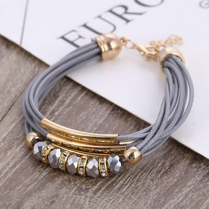 Bracelet Wholesale 2018 New Fashion Jewelry Leather Bracelet for Women Bangle Europe Beads Charms Gold Bracelet Christmas Gift