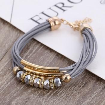 Bracelet En Gros 2018 Nouveaux Bijoux De Mode En Cuir Bracelet pour les Femmes Bracelet Europe Perles Charmes Bracelet En Or Cadeau De Noël