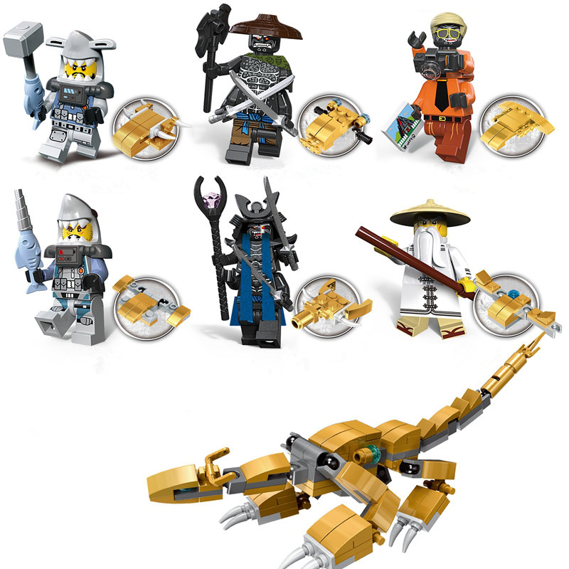 Decool 6 In 1 Ninjagoes Dragon Wu Villains Figures Garmadon Great White Shark With Weapon Compatible Legoings Ninja Movie Blocks