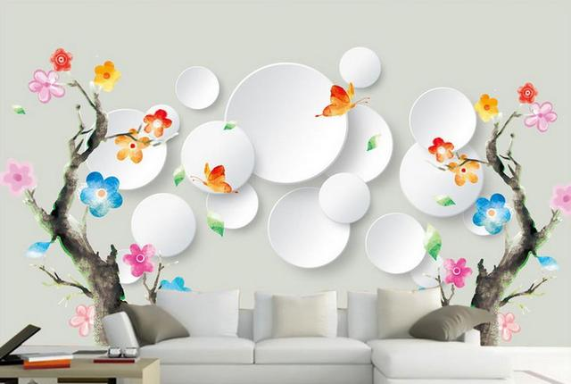 Customize 3d Luxury Mural Wallpaper Multicolored Flowers Abstract Tree Livingroom For Walls Photo