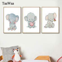 TAAWAA Baby Nursery Wall Art Canvas Painting Animal Nordic Posters and Prints Elephant Pictures Kids Girls Room Home Decor