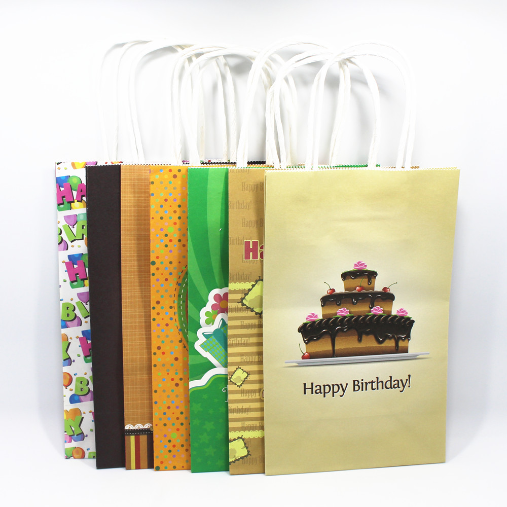 Aliexpress Com Buy Home Utility Gift Birthday Gift: 20Pcs/ Lot Kraft Paper Gift Bag With Handle Pinted Happy