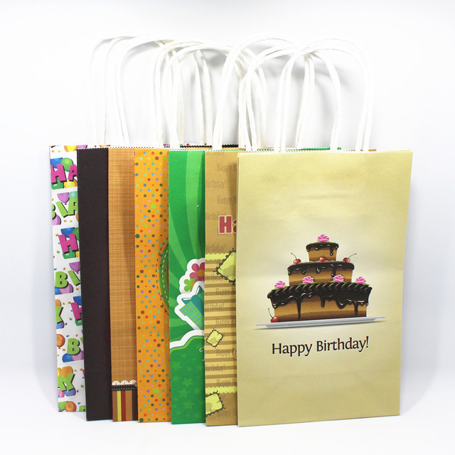 20Pcs Lot Kraft Paper Gift Bag With Handle Pinted Happy Birthday 21138cm Party Favors Boutique Clothing Package Bags