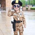 Primavera Otoño Niños Pequeños Moda Sistema de la Ropa de Camuflaje Militar Ropa de Uniforme Chaqueta Pantalones 2 unids Conjunto