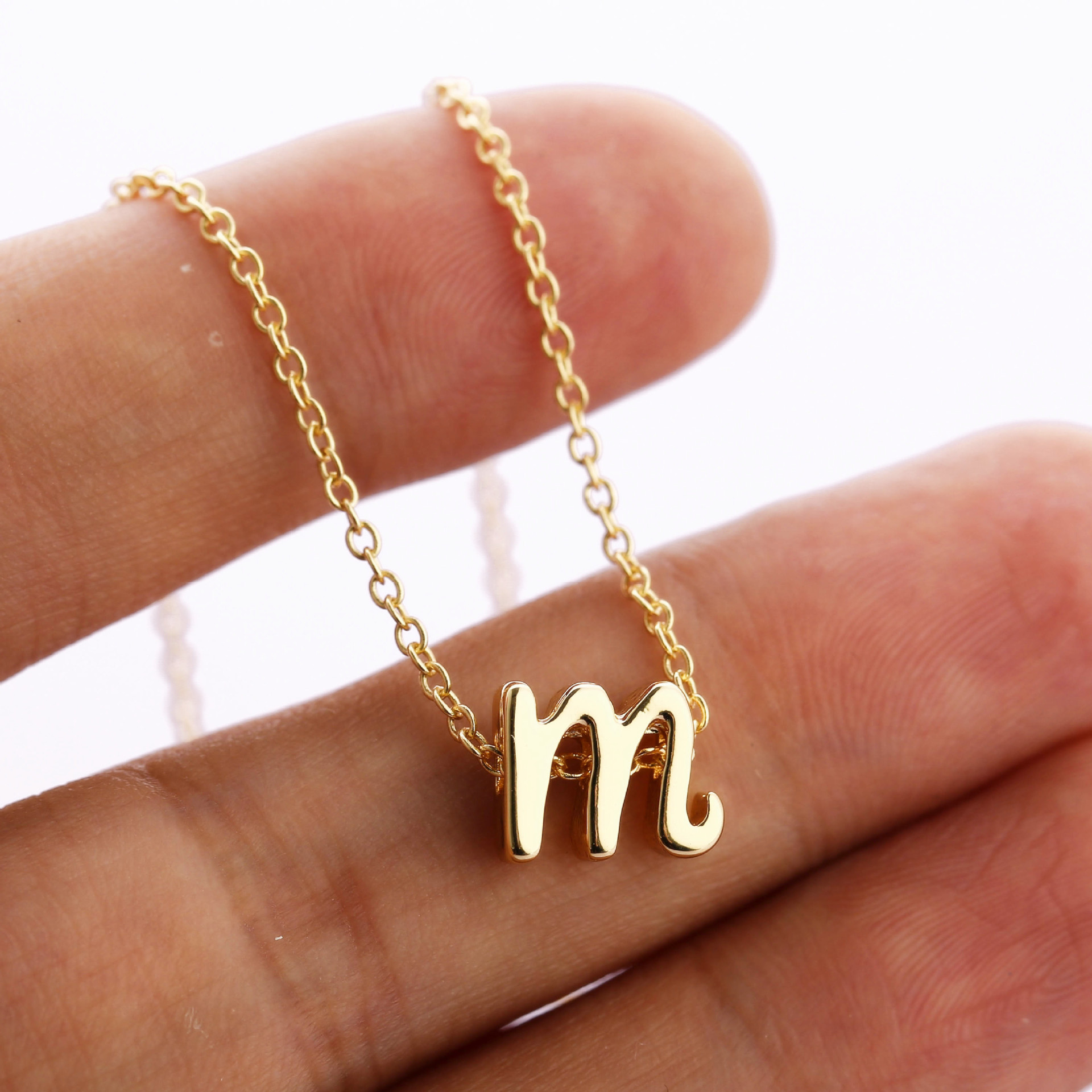 Davitu Tiny Cursive Initial Necklace Dainty Lowercase Initial Letter Necklace Delicate Personalized Name Gift for Mom Child Sister Metal Color: l, Main Stone Color: Gold
