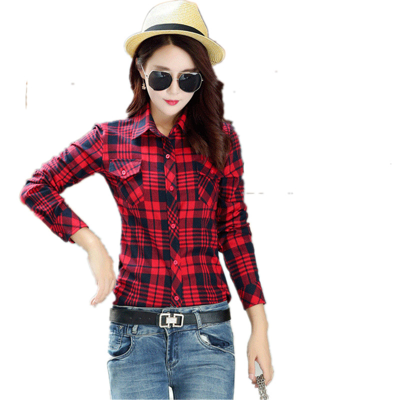 Girl College Style long sleeve Cotton checkered shirts Blouse British Womens Casual plaid shirt clothes for Female Рубашка