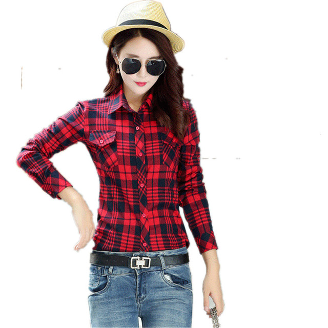 76ba191d795383 Girl College Style long sleeve Cotton checkered shirts Blouse British  Womens Casual plaid shirt clothes for Female