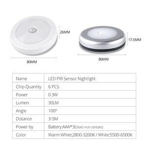 Image 2 - Foxanon LED לילה אור עם PIR Motion חיישן קל להתקין אלחוטי קיר ארון מדרגות מנורת סוללה כוח עיתונות מגע תאורה