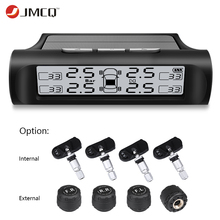 JMCQ Car TPMS Solar Charging Tire Pressure Monitoring System auto Alarm System Auto Safe Wireless With 4 Internal sensor Monitor tn400 wireless tire pressure monitoring tpms system monitor 4 internal sensors for renault peugeot toyota and all car free ship