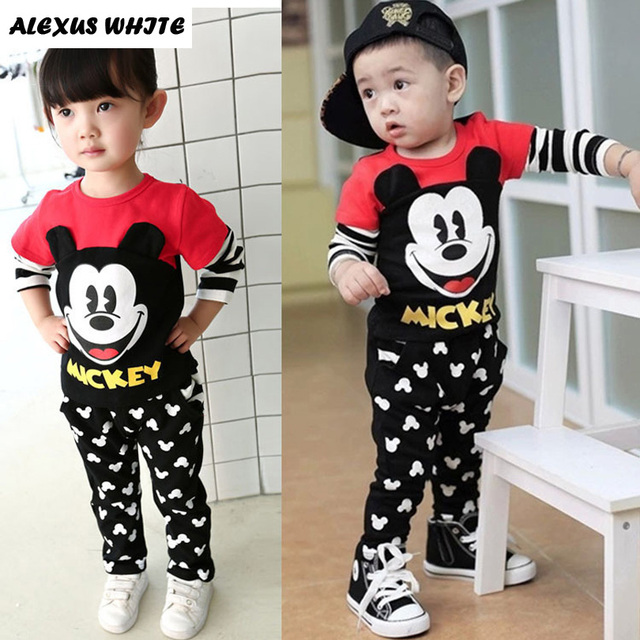 2 Pieces Sets Baby Kid Boys Girls Clothing 2017 Autumn Minnie Mouse Print Outfits Long Sleeve T-Shirt + Trousers