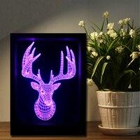 Novelty 3D Long Horned Deer Elk Christmas Decor Night Light Colorful Gadget RGB LED Lamp Bedroom