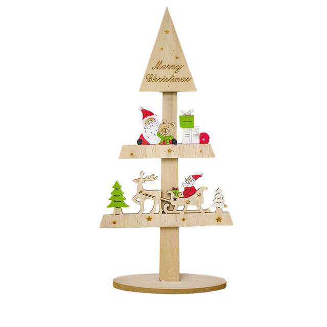 Us 5 9 35 Off Christmas Tree Creative Painted Christmas Wooden Tabletop Decoration Home Decor Gifts L103 In Trees From Home Garden On