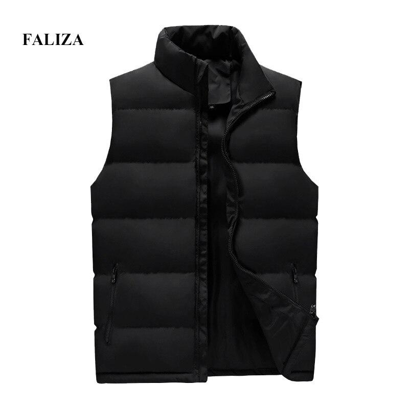 Image 4 - Faliza 新ブランドメンズ冬のノースリーブジャケットとコート男性のベストオム冬カジュアルコートプラスサイズ 5XL MJ112ベスト & チョッキ   -