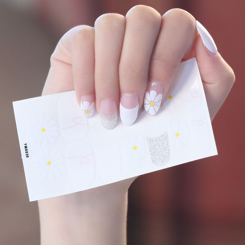 2019 Korea Designed Full Wraps Shiny Nail Art Sticker Decals Multicolor Nail Stickers Strips DIY Salon Manicure Drop Ship in Stickers Decals from Beauty Health