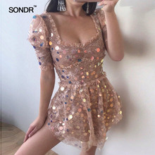 SONDR 2019 Summer women shiny colorful sequined mini dress sexy lace patchwork ruffles female pink party club dresses