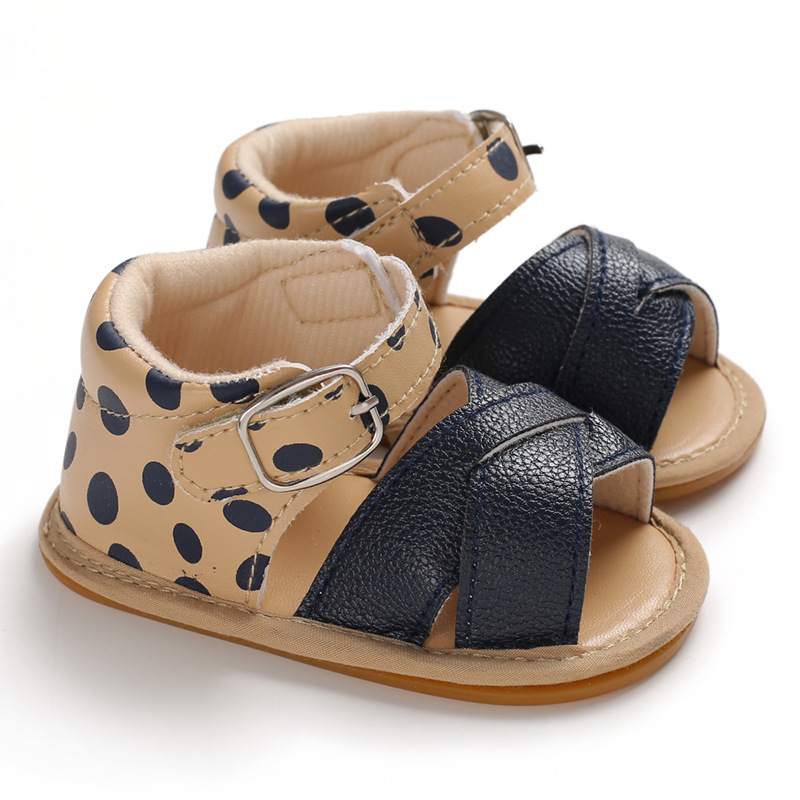 Newborn Baby Sandals Girls Boys Baby Summer Solid First Walker Shoes Hard Botton Crib Shoes Anti-slip PU Leather Baby Sandals
