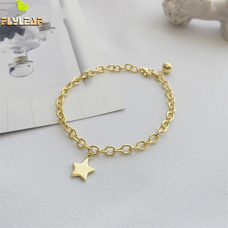 Flyleaf 18k Gold Star 100% 925 Sterling Silver Bracelets For Women Fashion Fine Jewelry Bracelets & Bangles Wholesale Lots Bulk
