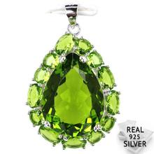 Guaranteed Real 925 Solid Sterling Silver 6.0g Elegant Pear Shape Green Peridot Pendant 33x22mm