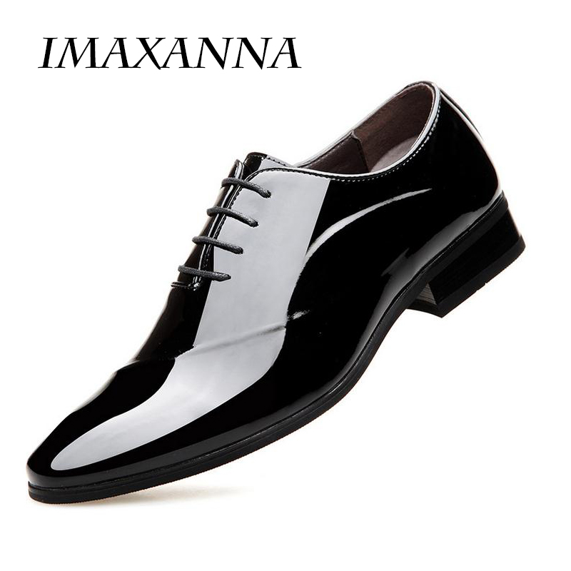 IMAXANNA2018 New Patent Leather Oxford Shoes For Men Dress Shoes Men Formal Shoes Pointed Toe Business Wedding Plus Size37-45 bimuduiyu patent leather oxford shoes for men loafers dress shoes formal shoes pointed toe business fashion groom wedding shoes
