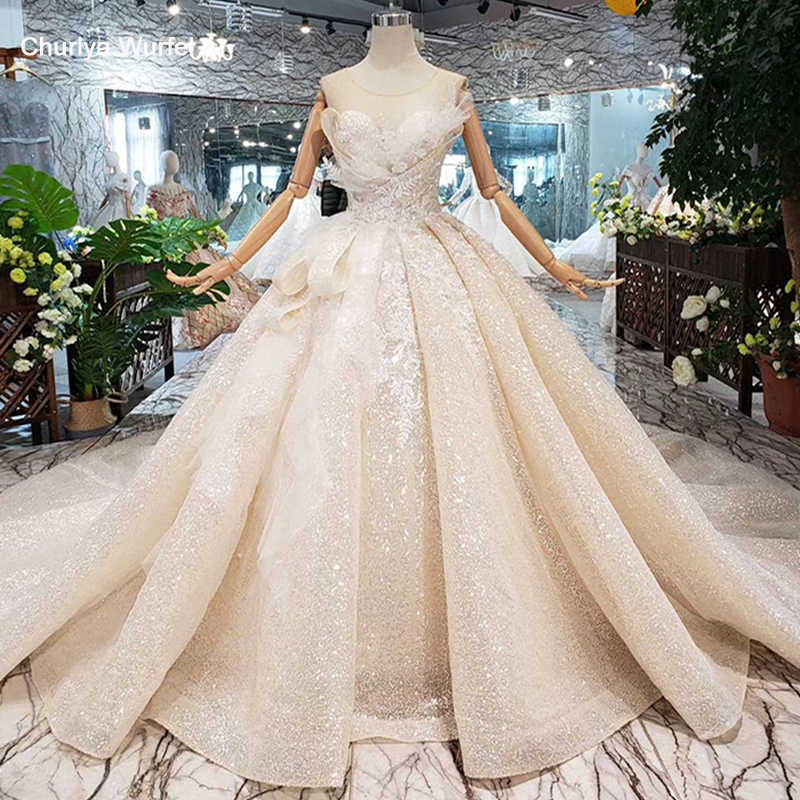 Boda Special Wedding Dress 2019 o-neck sleeveless keyhole back handmade ball gown bridal dresses wedding gownsgelinlik HTL304