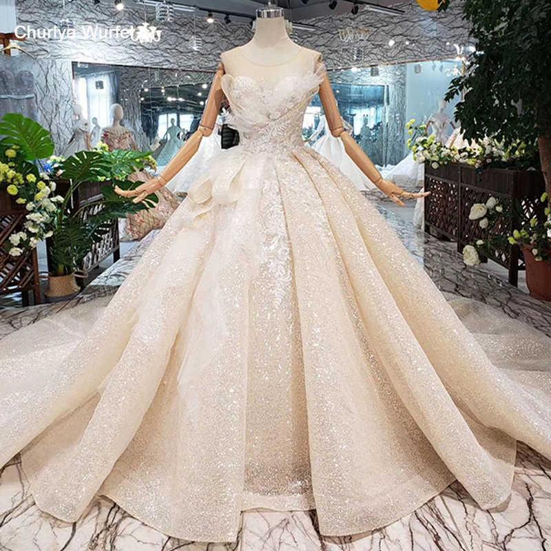 בודהה מיוחד חתונה שמלת 2019 o-צוואר שרוולים keyhole חזרה בעבודת יד כדור שמלת כלה שמלות חתונה gownsgelinlik HTL304
