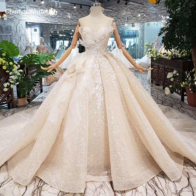 Boda robe de mariée spéciale 2019 o-cou sans manches trou de serrure retour robe de bal à la main robes de mariée de mariage gownsgelinlik HTL304