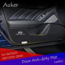 Auker двери анти-грязный kick коврик ортопедический стикер гарнир украшения для Infiniti Q50 Q70L QX50 Автомобиль Стайлинг 4 шт./компл.