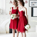 Two Styles Red Chiffon Short Bridesmaid Dresses Pleated Knee Length Party Dresses 2016 Vestido Curto Branco