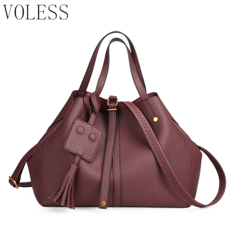 Large Capacity Bucket Women Casual Tote Bags High Quality Pu Leather Handbag Shoulder Bags Famous Brand Crossbody Bag For Women fashion casual large capacity handbag for men shoulder bags male waterproof oxford fabric bussiness bag mochila high quality