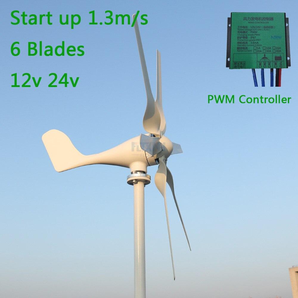 Start up 1.3 m/s nouvelle éolienne 800 w 12 v 24 v avec 6 pales et contrôleur de charge PWM pour un usage domestique