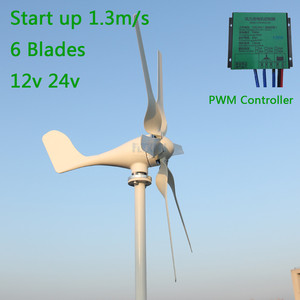 Start up 1.3m/s New 800w 12v 24v Wind Turbine with 6 Blades and PWM charge controller for Home use(China)