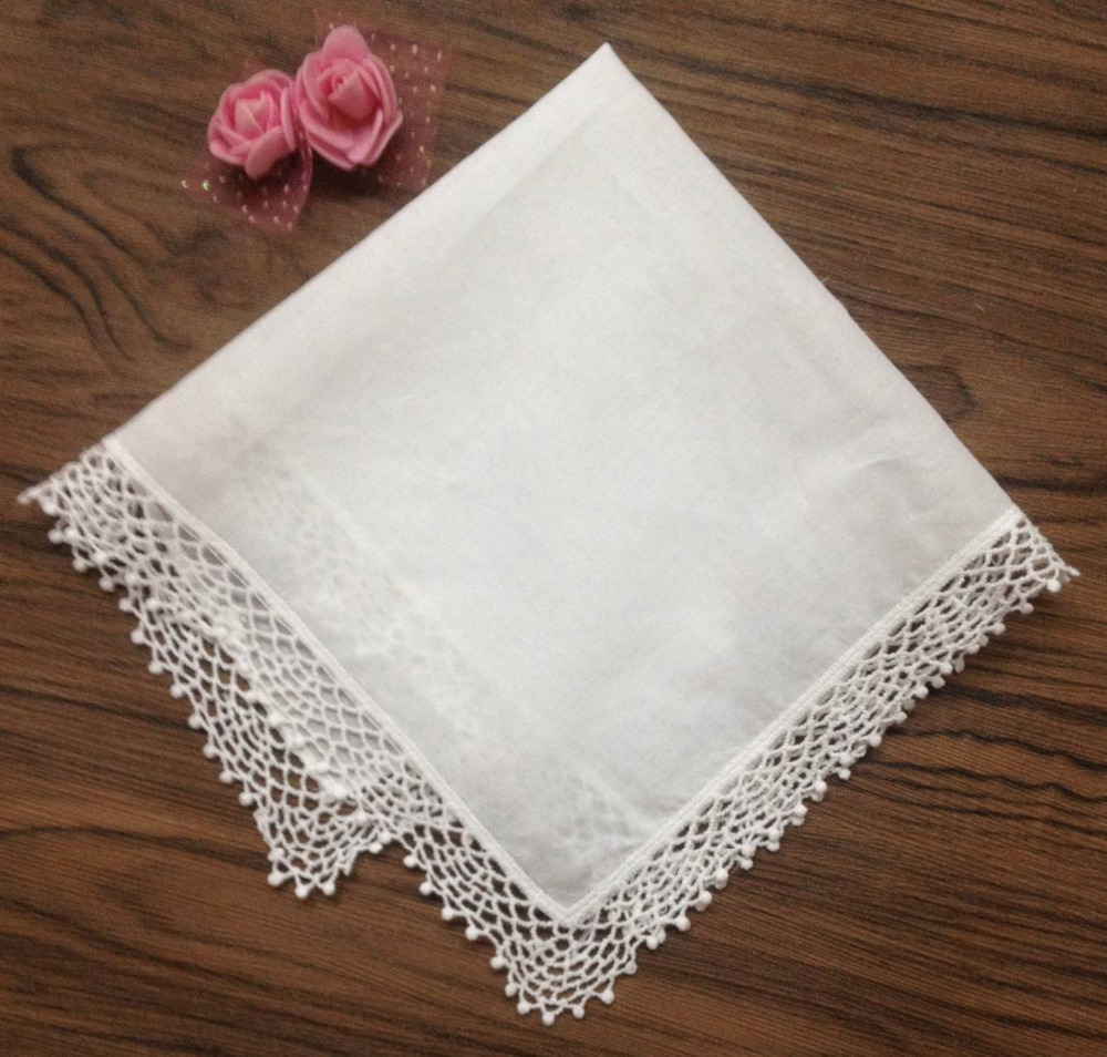 Set Of 12 Fashion Ladies Handkerchiefs 12-inch Cotton Lace Wedding Bridal Handkerchief Sweet Heart Hankies Hanky For Bride Gifts
