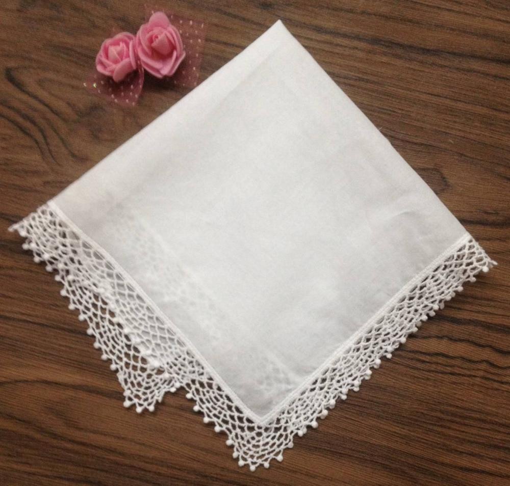 Set Of 12 Fashion Ladies Handkerchiefs 12-inch Cotton Lace Wedding Bridal Handkerchief Sweet Heart Hankies Hanky For Bride Gifts