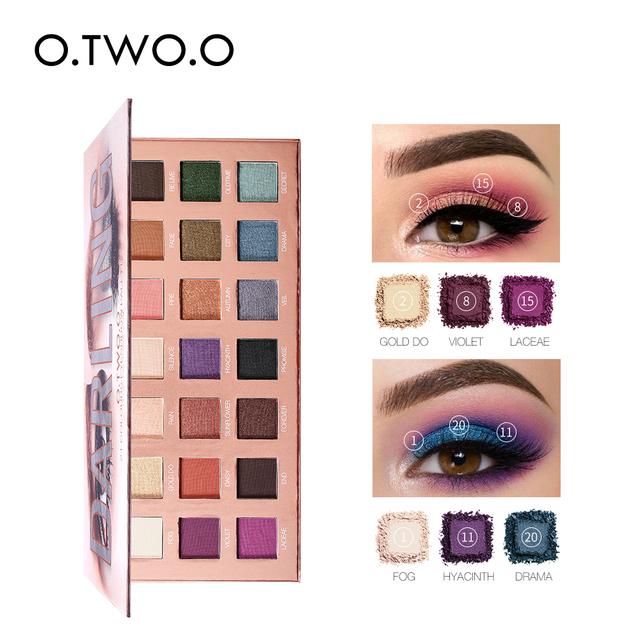 O.TWO.O sombra de ojos 21 colores mate Brillo alta pigmentación de larga duración