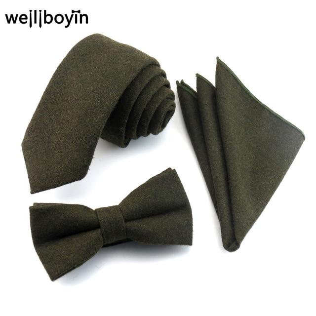 Cravatte Uomo da Pocket Cravatta Bowtie Set 100 Lana Scuro Verde qXXSaxP